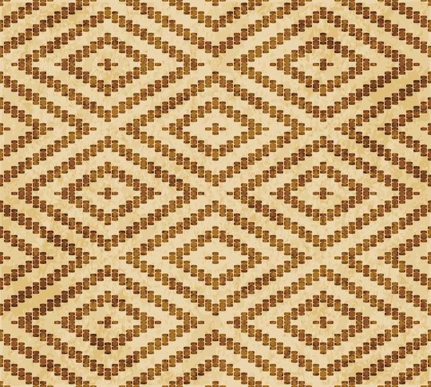 Retro brown textured seamless pattern, stitch cross square check diamond frame line