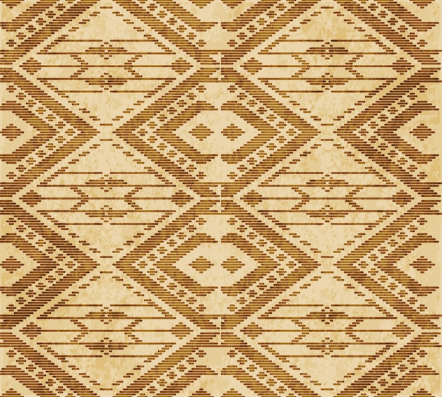 Retro brown textured seamless pattern, triangle check polygon cross stitch frame line