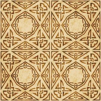 레트로 브라운 질감 완벽 한 패턴, 삼각형 다각형 원주민 크로스 프레임 체인