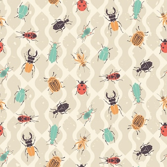Retro bugs and beetles seamless pattern