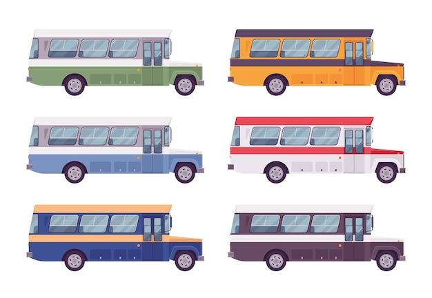 밝은 색상으로 설정된 레트로 버스