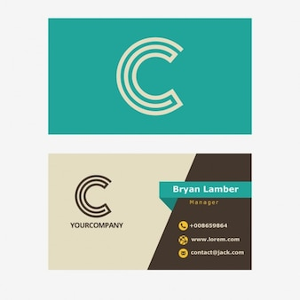 Retro business card with c letter