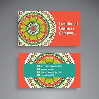 Retro business card with mandala decoration
