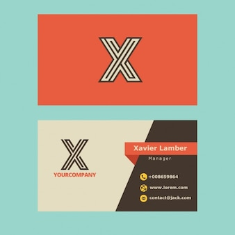 Retro business card with x letter