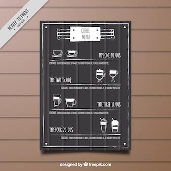 Retro cafe menu template with sketches