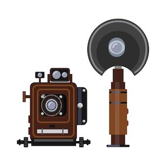 Ретро камера и вспышка изолированы. старинное профессиональное оборудование для фото