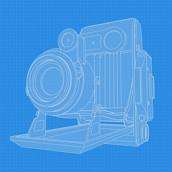 Retro camera drawing. different angle and 3d projection of retro camera on blueprint. vintage photocamera vector drawing.