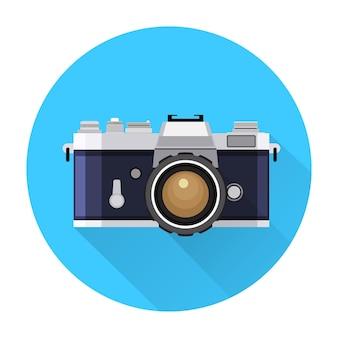 Retro camera flat icon vector illustration