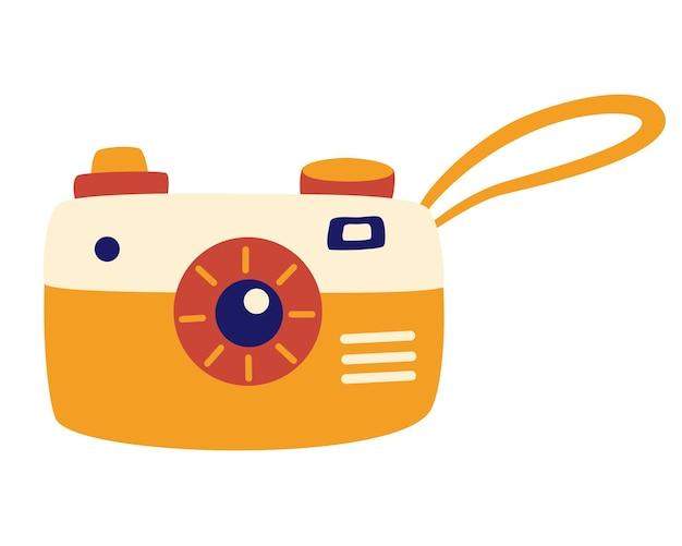 漫画風のレトロなカメラ。ストラップ付きの古いカメラ。レクリエーション観光。モダンでシンプルなスナップ写真撮影サイン。かわいいレトロなカメラとベクトルイラスト。