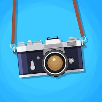 フラットスタイルのレトロなカメラ。