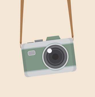 플랫 스타일의 레트로 카메라