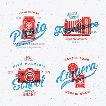 Retro camera photography labels or logos with vintage typography shabby textures.