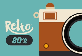 Retro camera poster isolated icon design