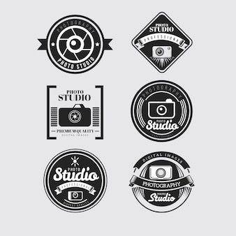 Retro cameras badges in black color
