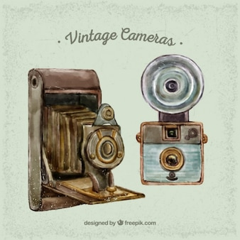 Retro cameras in watercolor effect