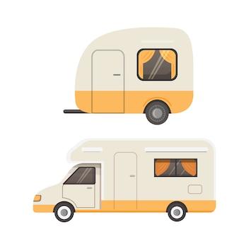 레트로 캠핑 트레일러 컬렉션. 자동차 트레일러 캐러밴. 관광 여행.