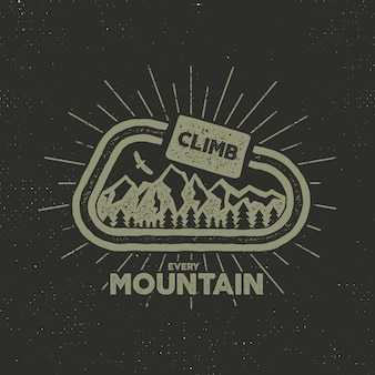 Retro camping with text, climb every mountain