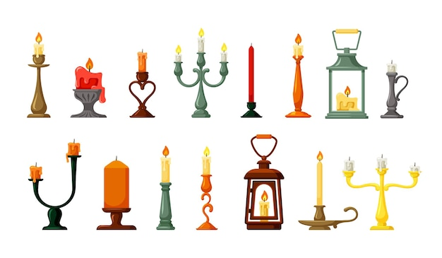Retro candlesticks and lamps set