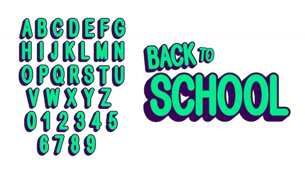Retro, capital letters set, font and numbers. modern  green alphabet.