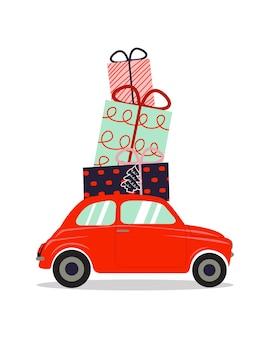 크리스마스 선물 더미를 들고 레트로 자동차