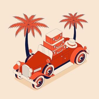 튤립의 큰 꽃다발과 레트로 자동차 컨버터블. 붉은 색 그림에서 빈티지 자동차