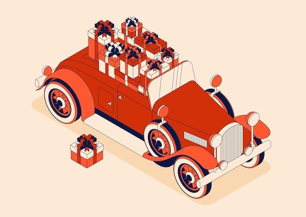 튤립의 큰 꽃다발과 레트로 자동차 컨버터블. 붉은 색으로 빈티지 자동차입니다.