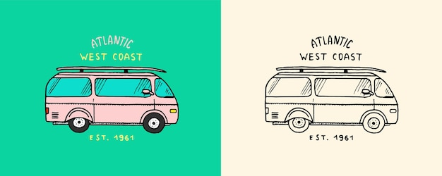 レトロな車のエンブレムサーフィンサイン夏のサーフヴィンテージ刻まれたエンブレム手描きポスターまたはバナー