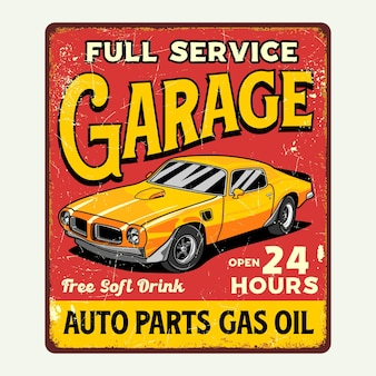 Ретро автомобиль гараж плакат знак графический