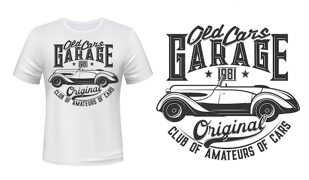 Retro car garage station t-shirt print