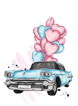 Retro car and heart balloons