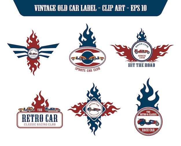 Retro car label sticker