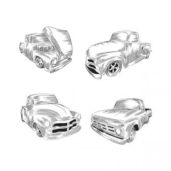 Retro car line sketch illustration