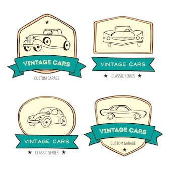 Retro car logo set