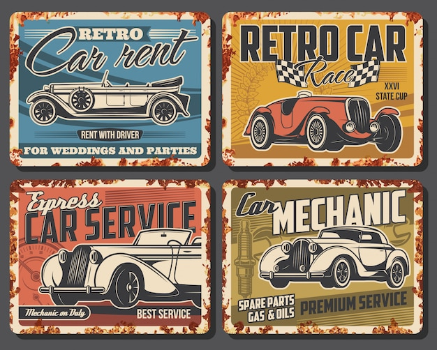 Retro car repair, rent service rusty metal plate