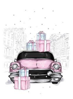 クリスマスプレゼントと雪道のレトロな車