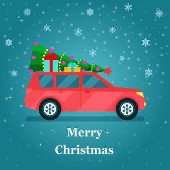 Ретро-автомобиль с елкой и подарочными коробками. векторная иллюстрация плоский