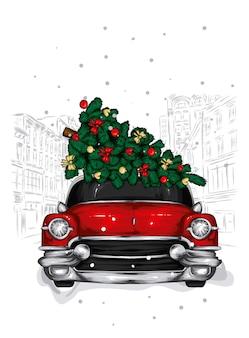 クリスマスツリーと雪道のレトロな車