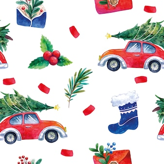 Retro car with a christmas tree, holly blue sock envelopes with green branches and berries pattern