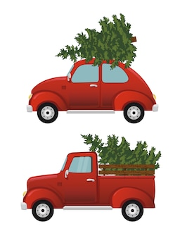 Retro car with christmas tree. vintage d