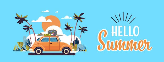 Retro car with luggage on roof tropical sunset beach surfing vintage