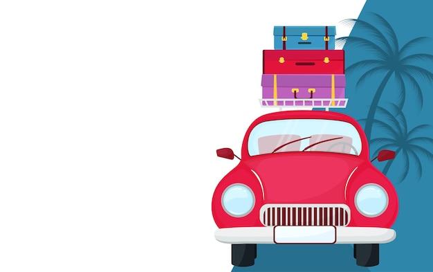 지붕에 가방이 달린 복고풍 자동차. 여행 개념입니다.