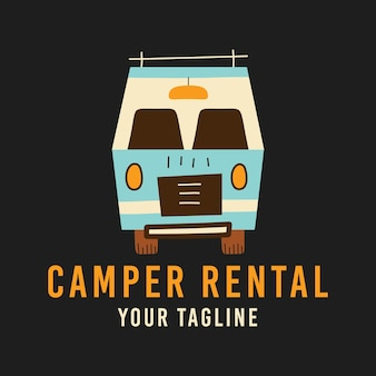 T 셔츠 디자인에 camper rental 및 your tagline 비문 위에 묘사된 복고풍 캐러밴