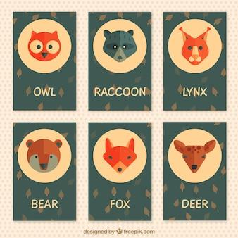 평면 디자인에 동물의 레트로 카드 팩