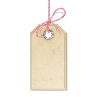 Retro cardboard tag hanging on string