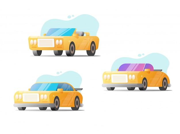 레트로 자동차와 스포츠 현대 차량 벡터 세트 흰색 배경 평면 만화 클립 아트 그림에 고립