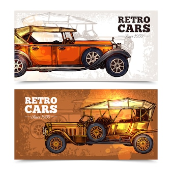 Retro cars banner set