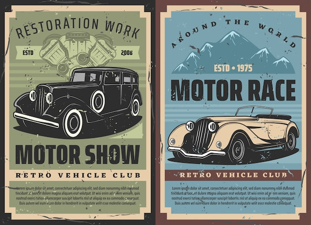 Retro cars rally and vintage motors races, old vehicles restoration and repair works, grunge posters. rarity muscle sport cars rally tournament, classic cars engine mechanic garage station