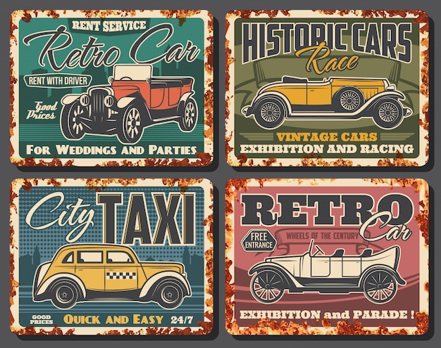 Retro cars rent, taxi service rusty plate