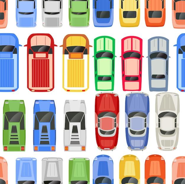 Retro cars seamless pattern retro auto design texture illustration background