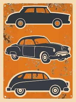 Retro cars stickers set. vintage auto